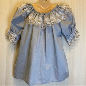 Gray square dancing blouse with lace trim
